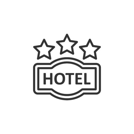 Hotel 3 stars sign icon in flat style. Inn vector illustration on white isolated background. Hostel room information business concept.