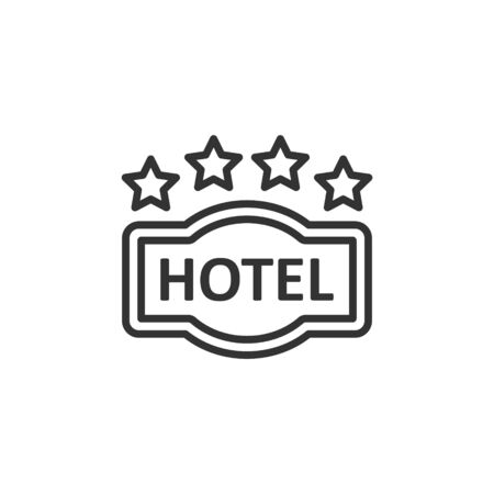 Hotel 4 stars sign icon in flat style. Inn vector illustration on white isolated background. Hostel room information business concept.