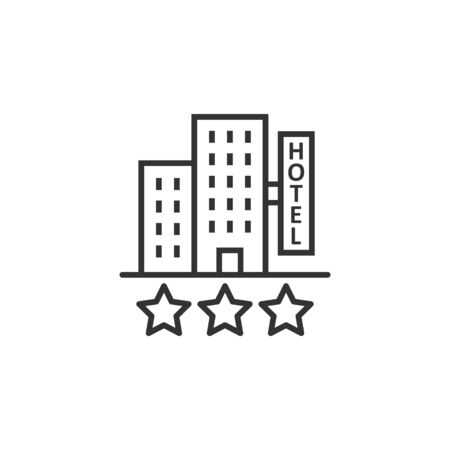 Hotel 3 stars sign icon in flat style. Inn building vector illustration on white isolated background. Hostel room business concept. 向量圖像
