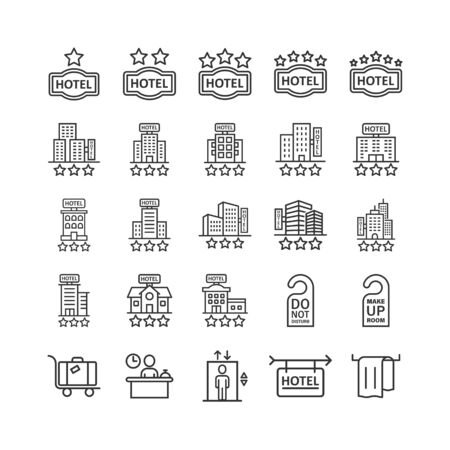 Hotel icon set in flat style. Booking vector illustration on white isolated background. Vacation reservation business concept. Illusztráció