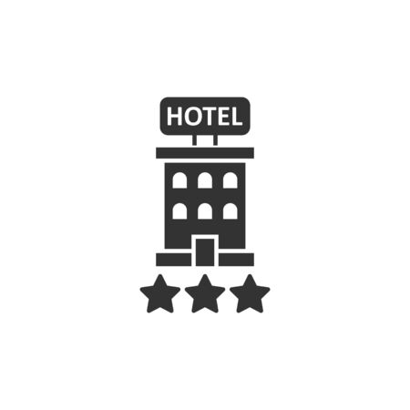 Hotel 3 stars sign icon in flat style. Inn building vector illustration on white isolated background. Hostel room business concept. Illusztráció