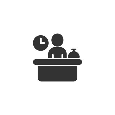Check in reception icon in flat style. Booking service vector illustration on white isolated background. Hotel reservation business concept. Illusztráció