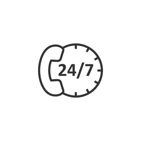 Phone service 247 icon in flat style. Telephone talk vector illustration on white isolated background. Hotline contact business concept. Illusztráció