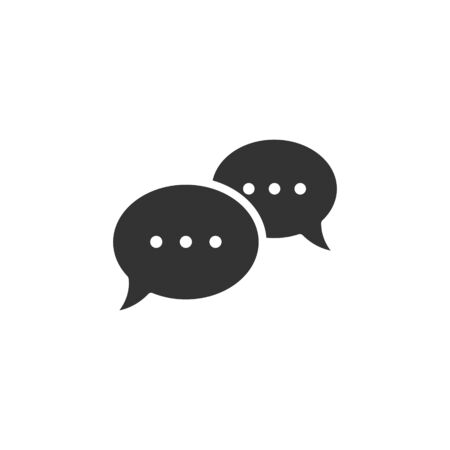 Speak chat sign icon in flat style. Speech bubbles vector illustration on white isolated background. Team discussion button business concept. Illusztráció