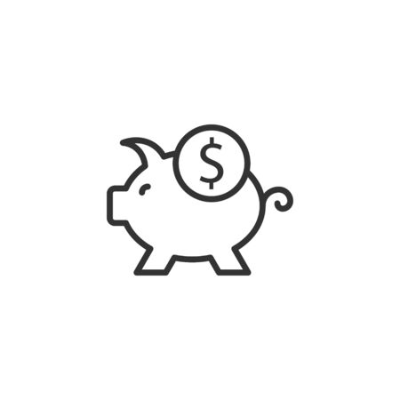 Money box icon in flat style. Pig container vector illustration on white isolated background. Piggy bank business concept.