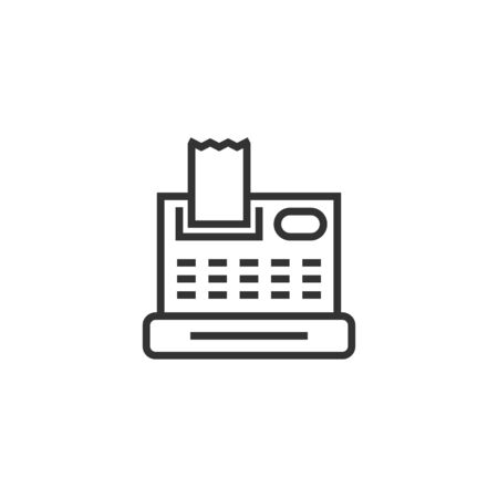 Cash register icon in flat style. Check machine vector illustration on white isolated background. Payment business concept.