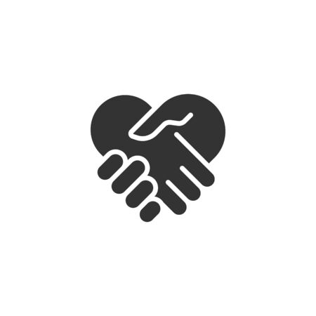 Handshake icon in flat style. Partnership deal vector illustration on white isolated background. Agreement business concept.
