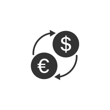 Currency exchange icon in flat style. Dollar euro transfer vector illustration on white isolated background. Financial process business concept. 向量圖像