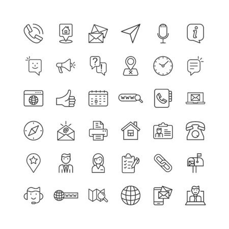 Contact us thin line icon set in flat style. Mobile communication vector illustration on white isolated background. Phone call business concept. Vettoriali