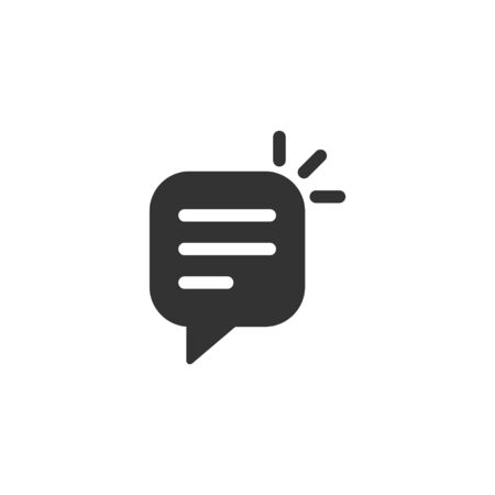 Speak chat sign icon in flat style. Speech bubbles vector illustration on white isolated background. Team discussion button business concept. Ilustração