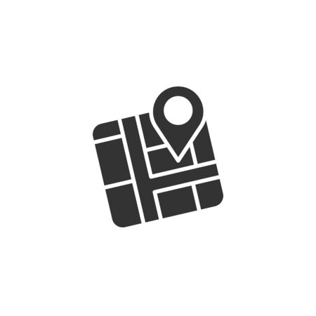 Map pin icon in flat style. gps navigation vector illustration on white isolated background. Locate position business concept.