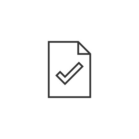 Document checklist icon in flat style. Report vector illustration on white isolated background. Paper sheet business concept. Stock Illustratie