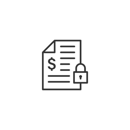 Financial statement icon in flat style. Document with lock vector illustration on white isolated background. Report business concept.
