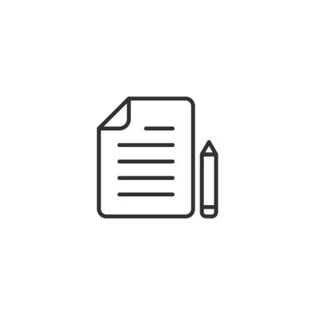 Document note with pen icon in flat style. Paper sheet pencil vector illustration on white background. Notepad document business concept.