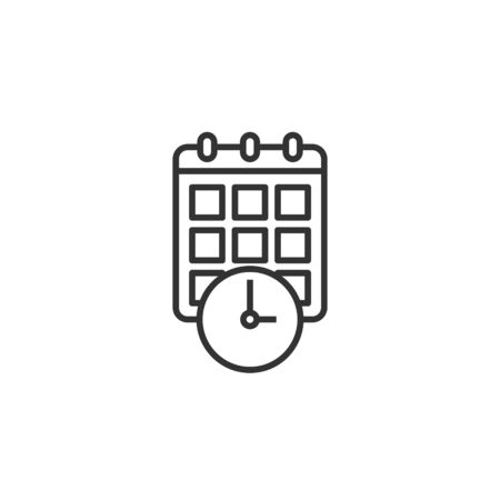 Calendar with clock icon in flat style. Agenda vector illustration on white isolated background. Schedule time planner business concept. Stock Illustratie