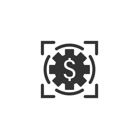 Money revenue icon in flat style. Dollar coin vector illustration on white isolated background. Finance structure business concept. Ilustración de vector