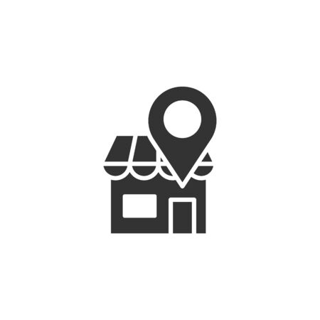 Home pin icon in flat style. House navigation vector illustration on white isolated background. Locate position business concept.