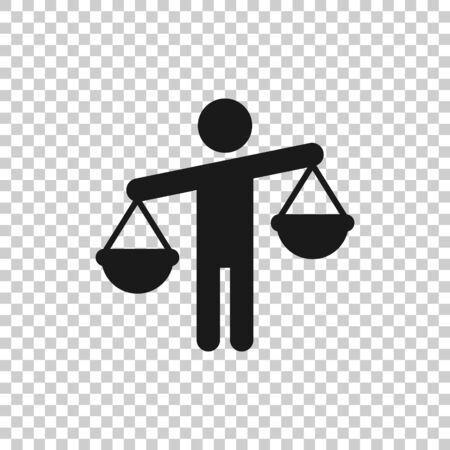 Ethic balance icon in flat style. Honesty vector illustration on isolated background. Decision business concept.