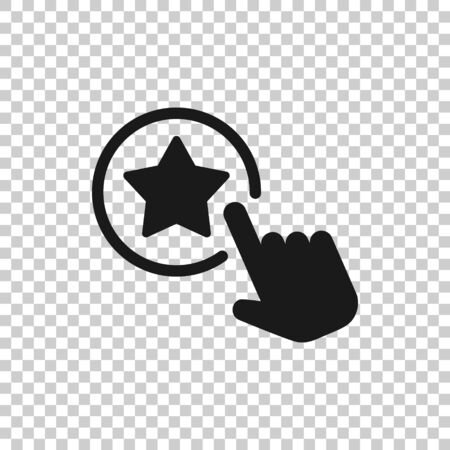 Click loyalty card icon in flat style. Hand on reward vector illustration on white isolated background. Discount business concept.