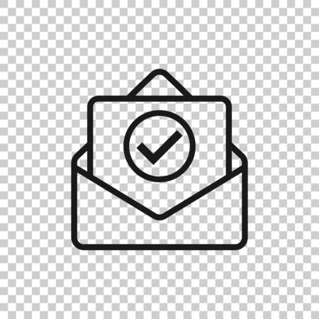 Envelope with confirmed document icon in flat style. Verify vector illustration on white isolated background. Receive business concept.