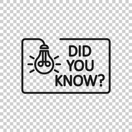 Did You Know icon in flat style. Question mark vector illustration on white isolated background. Attention banner business concept.