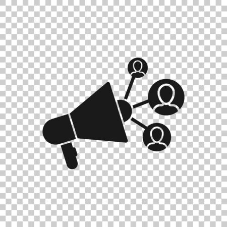 Social media icon in flat style. Marketing vector illustration on white isolated background. Megaphone with people business concept. Ilustrace