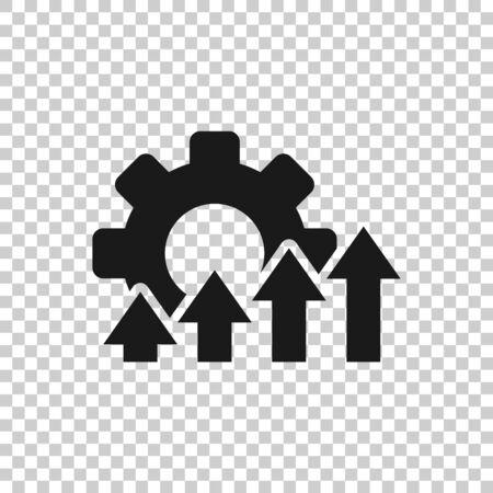 Icône d'amélioration dans un style plat. Illustration vectorielle de Gear project sur fond isolé blanc. Concept d'entreprise de productivité.
