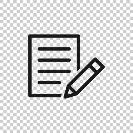 Blogging icon in flat style. Document with pen vector illustration on white isolated background. Content business concept. Ilustrace