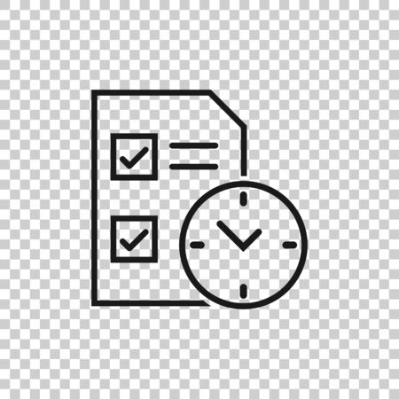 Contract time icon in flat style. Document with clock vector illustration on white isolated background. Deadline business concept. 일러스트