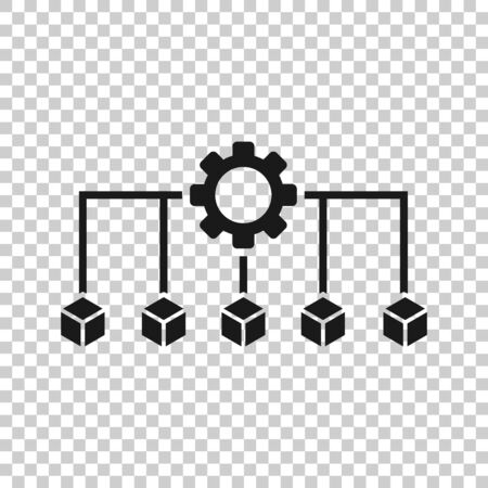 Api technology icon in flat style. Algorithm vector illustration on white isolated background. Gear with arrow business concept.