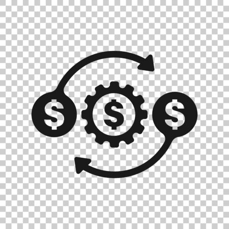 Money optimization icon in flat style. Gear effective vector illustration on white isolated background. Finance process business concept. Stock Illustratie