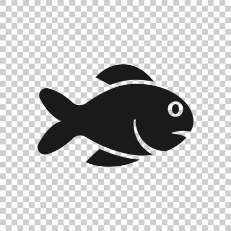Fish icon in flat style. Seafood vector illustration on white isolated background. Sea animal business concept.