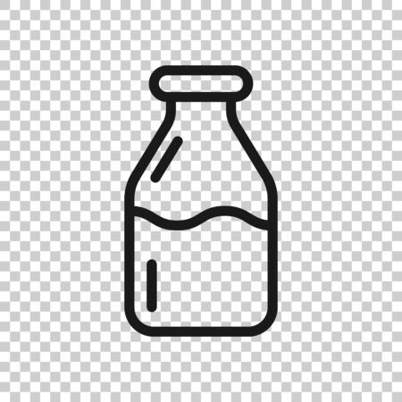 Bottle milk icon in flat style. Flask vector illustration on white isolated background. Drink container business concept. 向量圖像