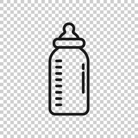 Baby bottle icon in flat style. Milk container vector illustration on white isolated background. Drink glass business concept.