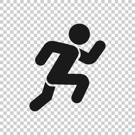 Run people icon in flat style. Jump vector illustration on white isolated background. Fitness business concept. 向量圖像