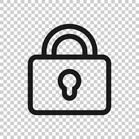 Padlock icon in flat style. Lock vector illustration on white isolated background. Private business concept. 向量圖像