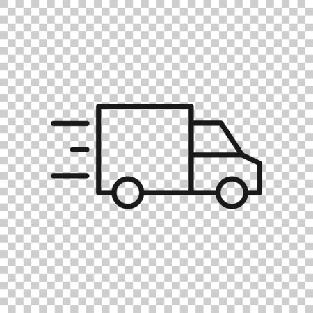 Truck icon in flat style. Auto delivery vector illustration on white isolated background. Lorry automobile business concept.