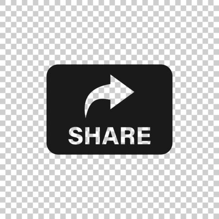 Share button icon in flat style. Arrow sign vector illustration on white isolated background. Send file business concept. 向量圖像