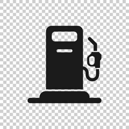 Fuel pump icon in flat style. Gas station sign vector illustration on white isolated background. Petrol business concept.