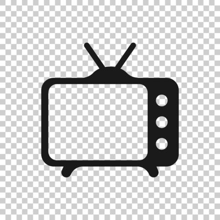 Tv icon in flat style. Television sign vector illustration on white isolated background. Video channel business concept. 向量圖像