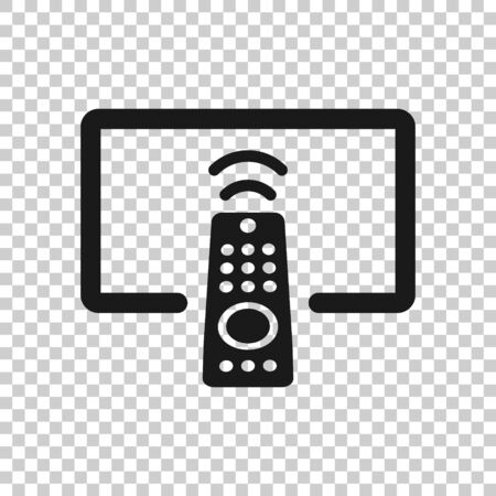Tv remote icon in flat style. Television sign vector illustration on white isolated background. Broadcast business concept.