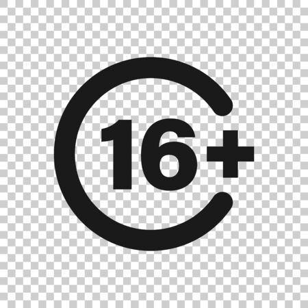 Sixteen plus icon in flat style. 16+ vector illustration on white isolated background. Censored business concept. Illustration