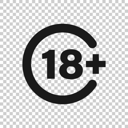 Eighteen plus icon in flat style. 18+ vector illustration on white isolated background. Censored business concept. Illustration