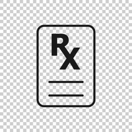 Prescription icon in flat style. Rx document vector illustration on white isolated background. Paper business concept.