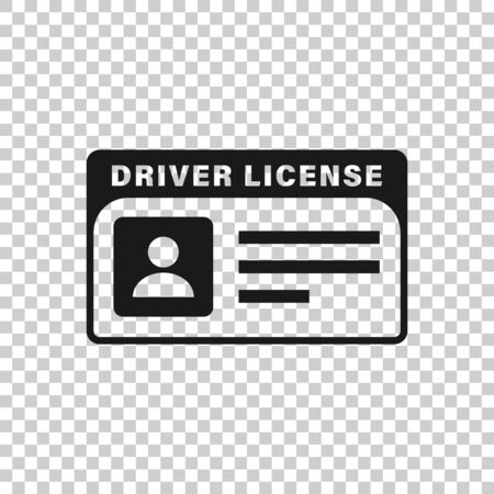 Driver license icon in flat style. Id card vector illustration on white isolated background. Identity business concept.