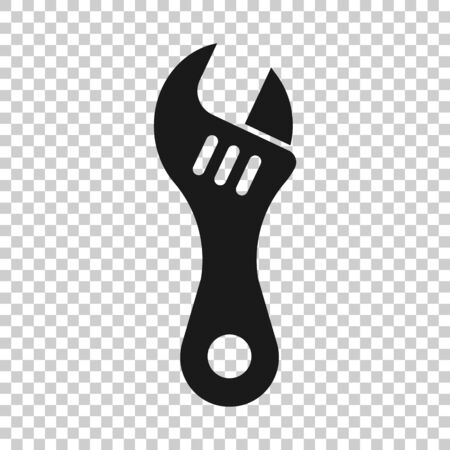 Wrench icon in flat style. Spanner key vector illustration on white isolated background. Repair equipment business concept. Illustration