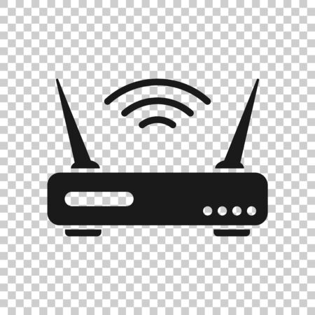 Wifi router icon in flat style. Broadband vector illustration on white isolated background. Internet connection business concept. Illusztráció