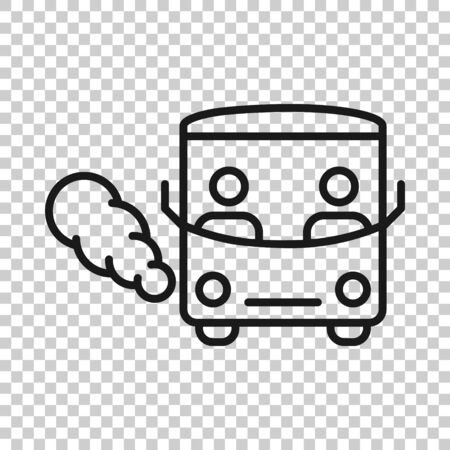 Bus icon in flat style. Coach vector illustration on white isolated background. Autobus vehicle business concept.