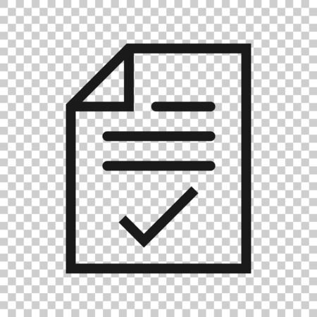 Document checklist icon in flat style. Report vector illustration on white isolated background. Paper sheet business concept. Vector Illustration