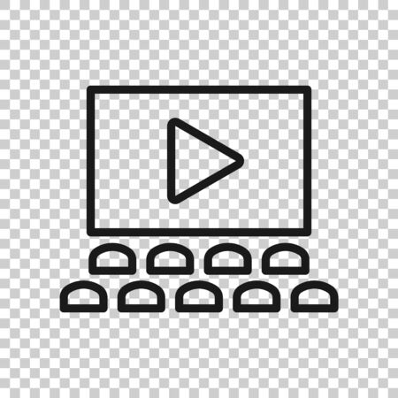 Film icon in flat style. Movie vector illustration on white isolated background. Cinema theater business concept.